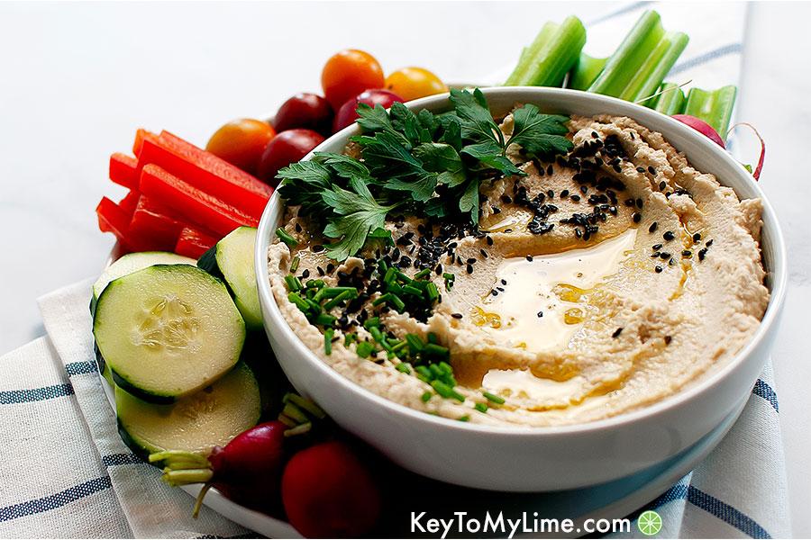 Roasted cauliflower hummus with vegetables.