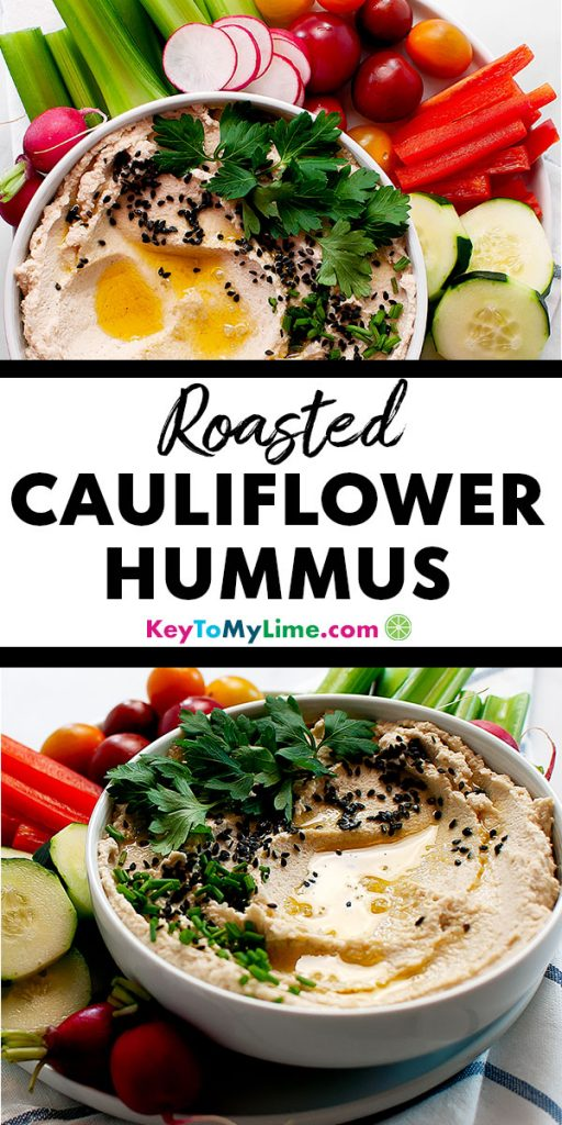 Two images of roasted cauliflower hummus.