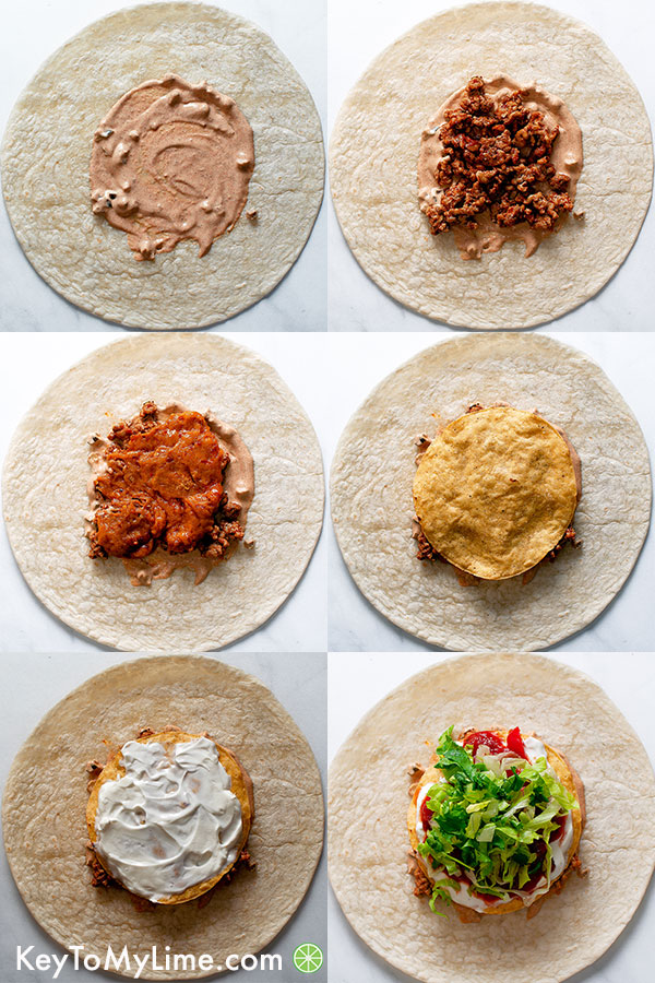 Collage showing how to layer a crunchwrap.