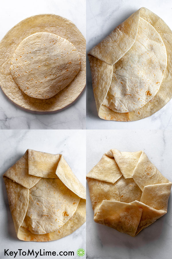 Collage showing how to fold a crunchwrap supreme.