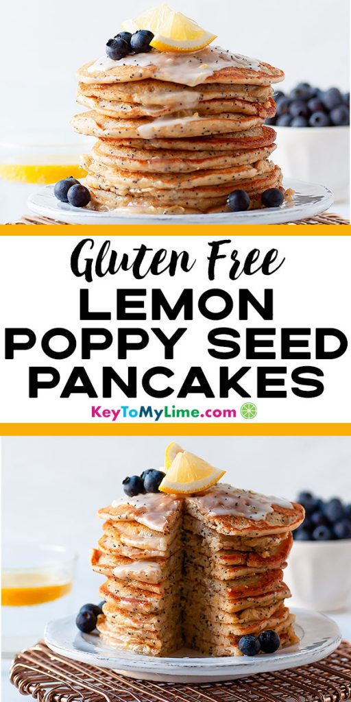 Two images of Gluten Free Lemon Poppy Seed Pancakes.