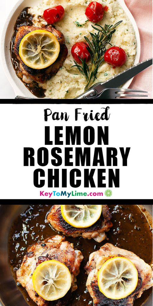 Two images of lemon rosemary chicken.