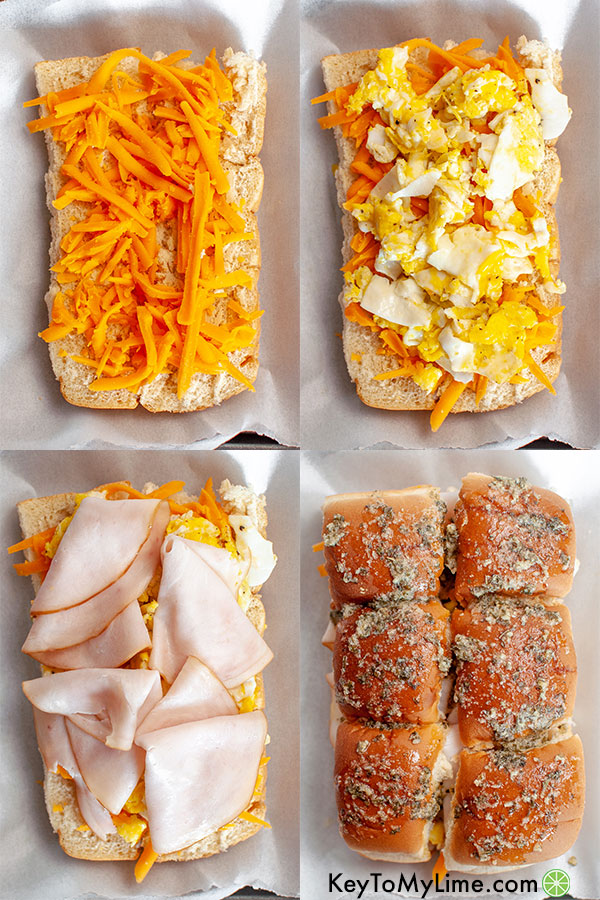A process collage showing how to assemble breakfast slider sandwiches.