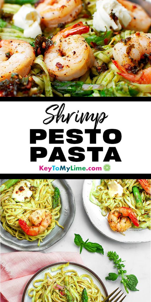 Two images of shrimp pesto pasta.