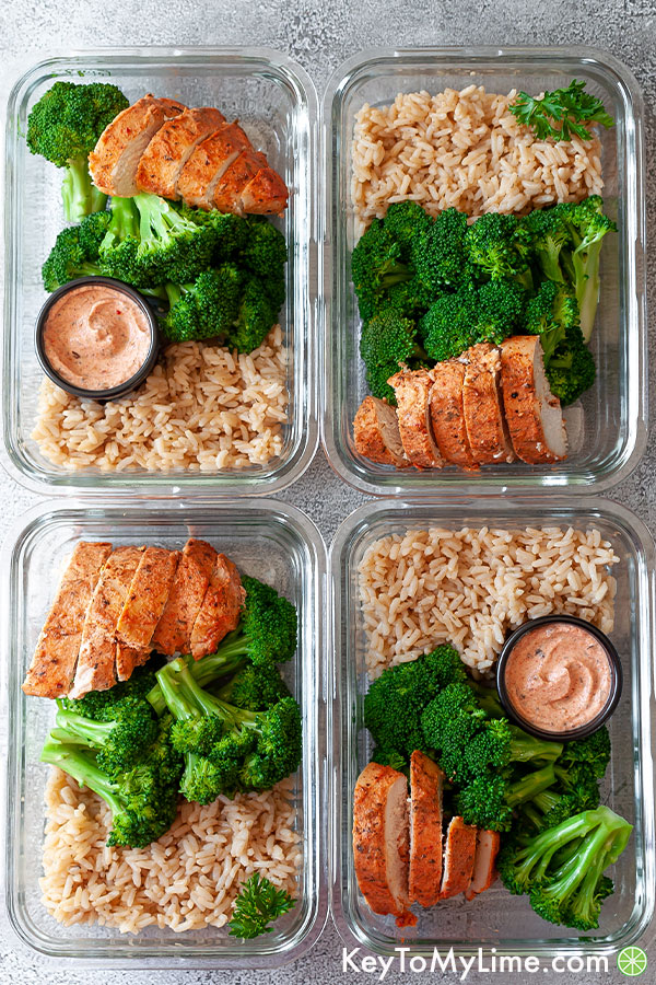 25 Minute Chicken And Rice Meal Prep With Broccoli Key To My Lime